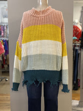 Load image into Gallery viewer, distresssed hem color block sweater