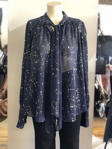 sheer star print blouse
