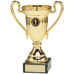 Cup Trophy Athens Range-metalised cup with handles, gold plastic riser, mounted on a marble base.