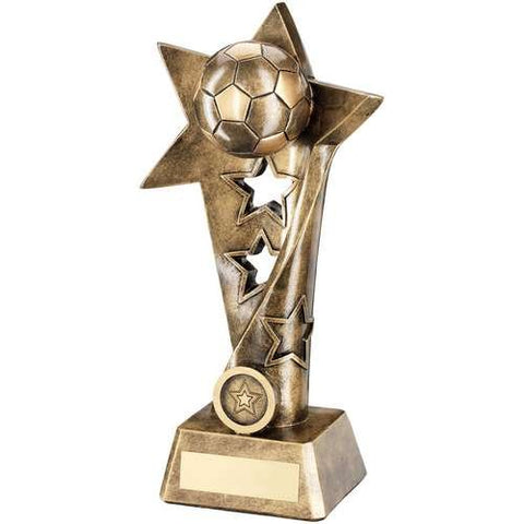 "Manager's Player Twisted Star Award Meteor Range- brass effect twisted star award with football design and Manager's Player engraving (10"")."