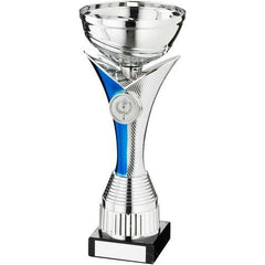 Tulip Cup Trophy Athena Range- silver metalised cup, silver and blue tulip shaped plastic riser mounted on a marble base.