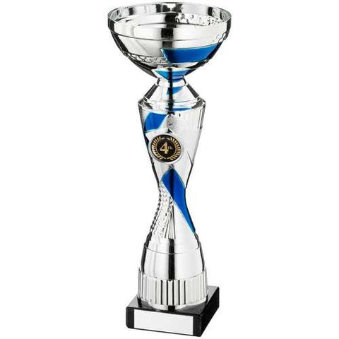 Cup Trophy Hermes Range- metalised cup, silver and blue patterned plastic riser mounted on a marble base.