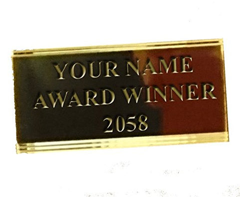 Engraving Plate EPM3 for Trophies & Awards - Engraved with your Engraving - 50mm x 25mm (design: gold cut corner)
