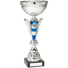 Cup Trophy Athena Range- metalised cup, silver and blue striped riser with wings, mounted on a marble base.