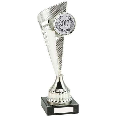 Silver Torch Trophy Rio Range- metalised silver torch with striped cut outs, short silver plastic riser mounted on a marble base.