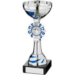 Wreath Cup Trophy Athena Range- silver and blue metalised cup, silver and blue plastic riser with silver and blue wreath mounted on a marble base.