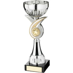 Cup Trophy Isthmus Range- metalised silver cup, silver and gold circular plastic riser with crossed spiral design mounted on a marble base.