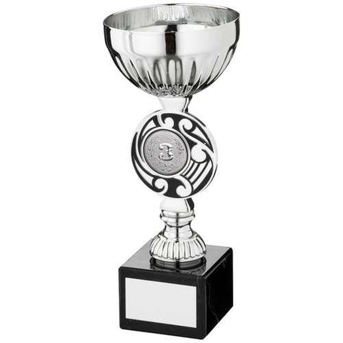 Cup Trophy Iona Range- silver metalised cup, silver plastic riser with brown Celtic design mounted on a marble base.