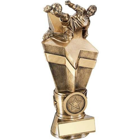 Star Column Award with Male Football Figure Award Wembley Range- brass effect star column award topped by footballer.