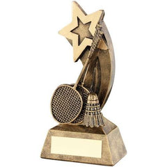 Shooting Star Shaped Badminton Award Meteor Range-brass effect shooting star award with badminton design.