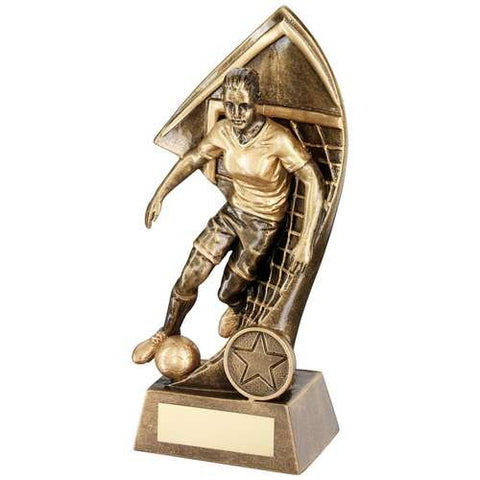 Female Footballer and Net Award Wembley Range- brass effect footballer against a net backdrop.