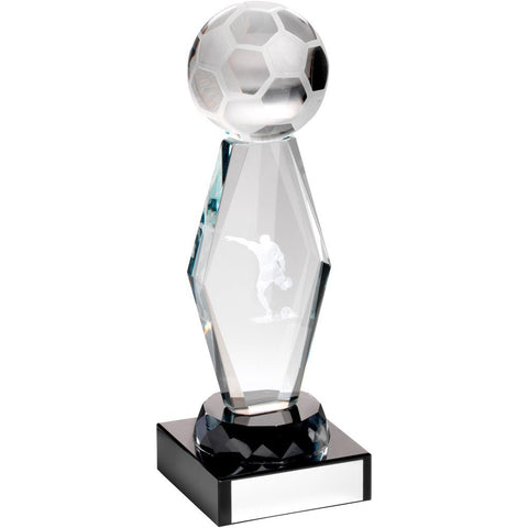 Glass Football Trophy -Lasered Glass Column On Black Base in Presentation Box