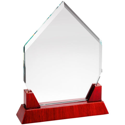 Glass Trophy - Rosewood Base With Clear 10mm Thickness Diamond Glass in Presentation Box