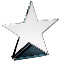 Star Trophy - Clear Glass Star Plaque for presentations and awards
