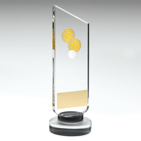 Lawn Crown Green Bowls Glass Pillar Trophy - Clear/Black Glass Pillar Plaque With Gold/White Lawn Bowls Logo