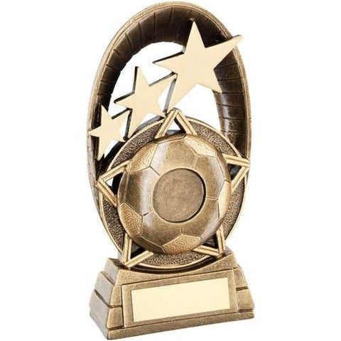 Football Arch Award Wembley Range- brass effect egg shaped award with football design.