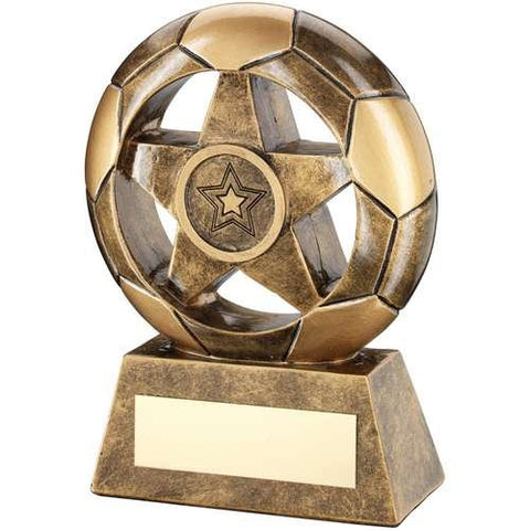 Star and Football Award Wembley Range- brass effect football shaped award with star in centre.