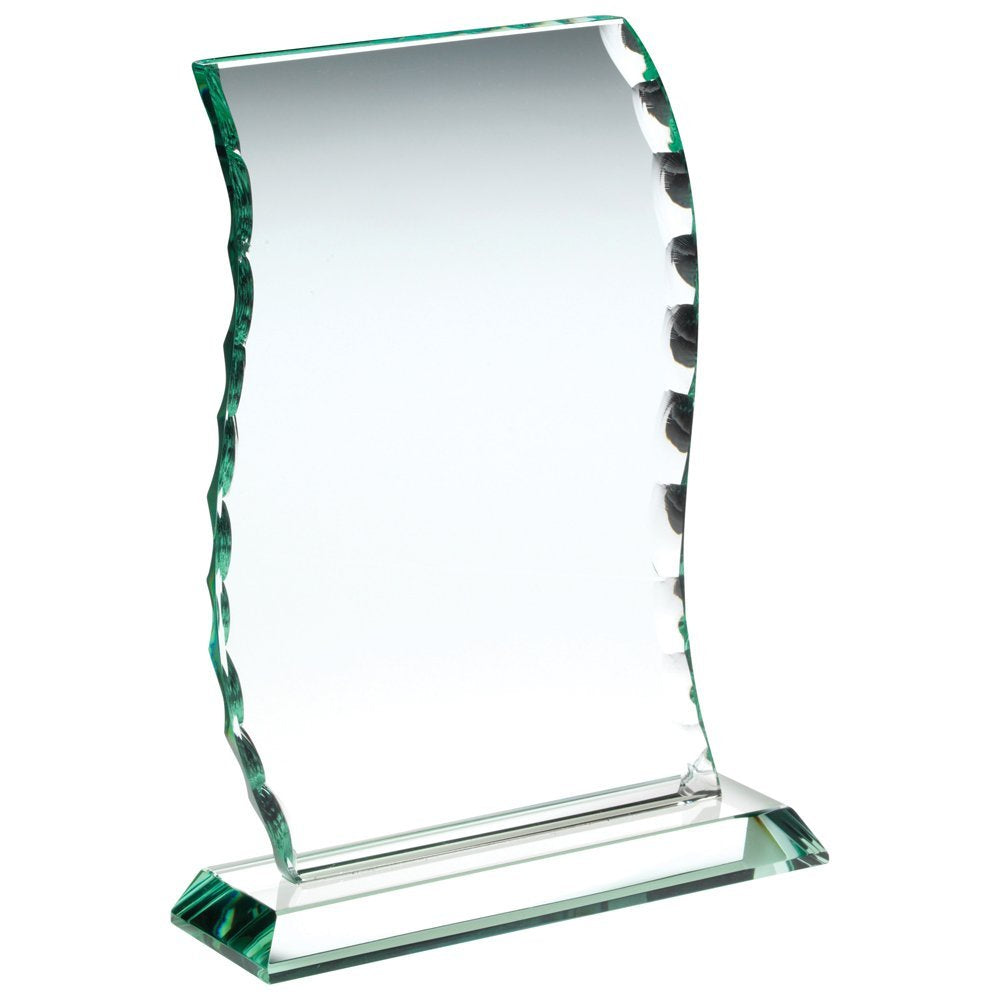 Glass Trophy Plaque In Wave Style With Patterned Edge 10mm Thick