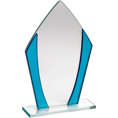 Diamond Shaped Glass Plaque Trophy with Blue Trim