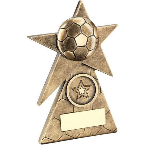 Five Pointed Star Award Wembley Range- brass effect star award mounted on a pyramid base.