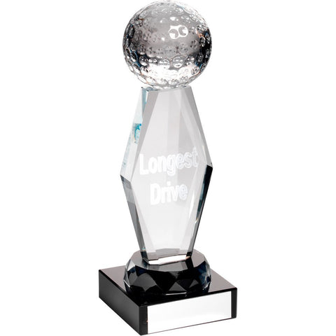 "Longest Drive Trophy - 3D Lasered Golf Ball on Column and Black Base in presentation box (7.25"")"