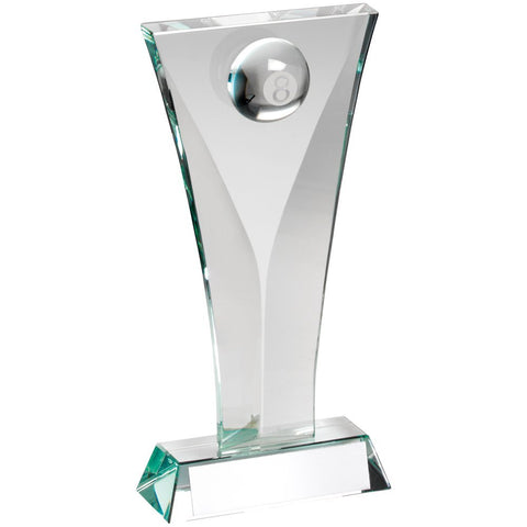 Glass Pool Trophy featuring 3D Pool Ball Inset