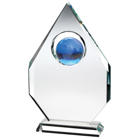 Glass Trophy - Corporate Award - Diamond Shaped with Blue Globe Inset