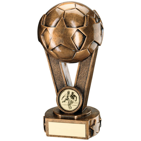 Football Trophy featuring football on victory V with a Star in Bronze / Gold Colour Resin