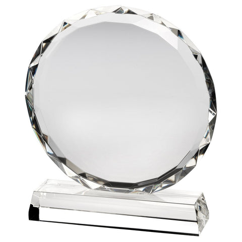 Circular Glass Trophy Plaque with Faceted Edges