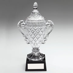 "Cut Glass Trophy Cup With Handles and Lid On Black Base (12.25"") DC Discontinued"