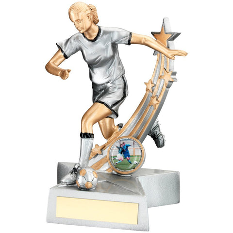 Female Football Trophy on Star Base in Silver, Black and Gold