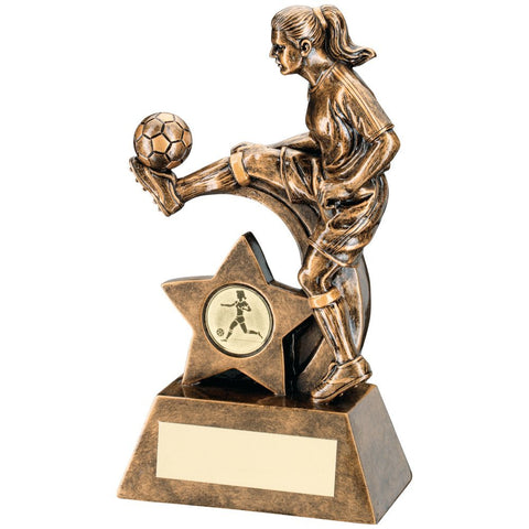 Bronze/Gold Female Football Figure Trophy - (1in Centre) 8.5in - 216mm - Free Engraving up to 30 letters - JR1-RF146C