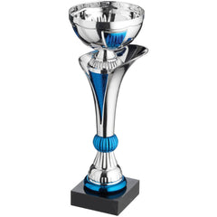 Cup Trophy Cape Range - Metalised Cup on Plastic Riser in Blue and Silver DC