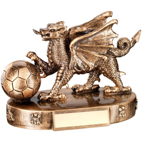 Football Trophy featuring Welsh Dragon in Bronze / Gold Colours