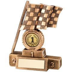Racing / Motorsport Trophy - resin design Chequered Flag and Podium