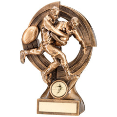 Rugby Trophy featuring 2 Players in Tackle. Bronze and Gold Colour Resin.