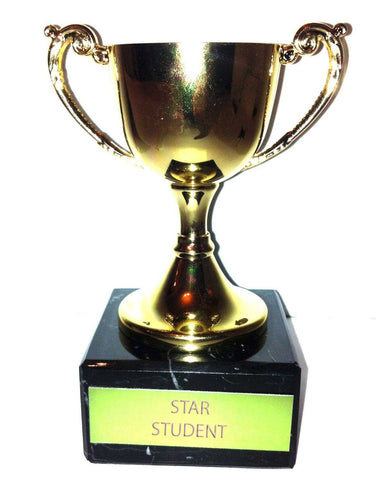 "Engraved ""Star Student"" Trophy Award: Small Gold Cast Metal Cup Trophy on Speckled Black Marble Base (4.5"" / 11cm)"