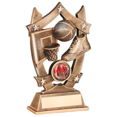 Basketball Trophy - Net, Ball and Trainers in Shield Design - Bronze & Gold colour resin