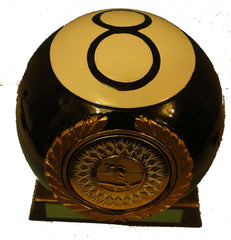 "Pool Trophy - 8 Ball - Black Ball On Base - 6"" / 15cm"