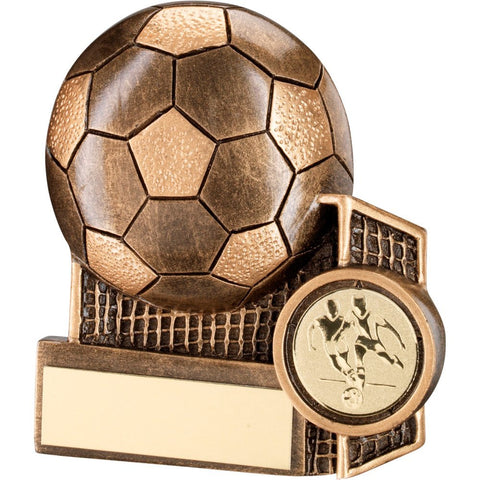 Budget Football Trophy - Economy Bronze / Gold Resin Football + Net Flatback Trophy