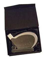 Golf Trophy featuring Clear Glass Golf Club Plaque With Silver Highlights in Presentation Box