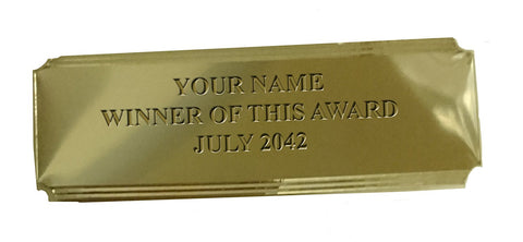 Engraving Plate EPL1 for Trophies & Awards - Engraved with your Engraving - 75mm x 25mm (design: silver, cut corners, trim)