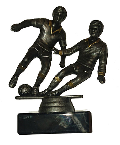 "Budget Football Trophy - Two Male Plastic Football Player Figures on Speckled Marble Base (5.25"")"
