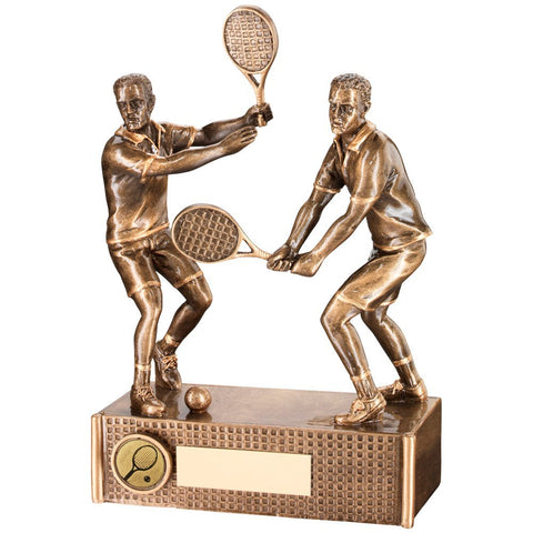 Tennis Trophy - Male / Mens' Doubles in Bronze & Gold Colour Resin