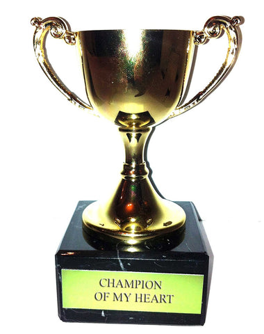 """Champion of My Heart"" Engraved Trophy Award: Gold Cast Metal Cup Trophy on Speckled Black Marble Base (4.5"" / 11cm)"