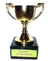 """Student of The Month"" Engraved Trophy Award: Small Gold Cast Metal Cup Trophy on Speckled Black Marble Base (4.5"" / 11cm) Discontinued"
