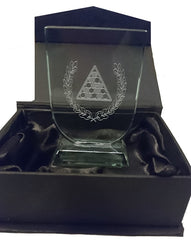 "Pool Trophy - Small Glass Trophy in Black Presentation Box (3.75"") DC"