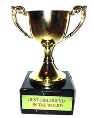 "Engraved ""Best Girlfriend in the World"" Trophy Award: Gold Cast Metal Cup Trophy on Speckled Black Marble Base (4.5"" / 11cm)"
