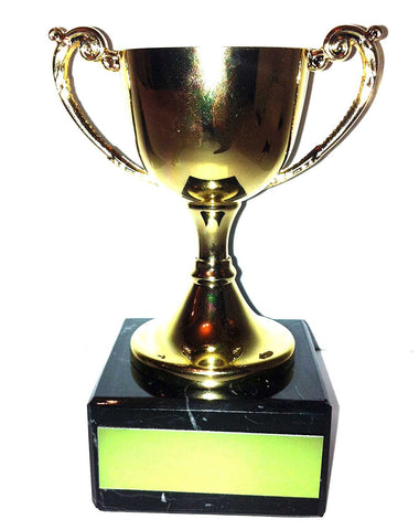 "Small Gold Cast Metal Cup Trophy on Speckled Black Marble Base (4.5"" / 11cm)"