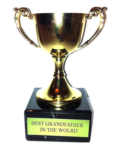 "Engraved ""Best Grandfather in the World"" Trophy Award: Small Gold Cast Metal Cup Trophy on Speckled Black Marble Base (4.5"" / 11cm) Discontinued"